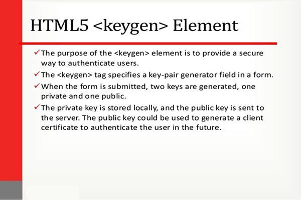 تگ keygen در HTML5 کلید عمومی challenge و keytype - سایت آموزی