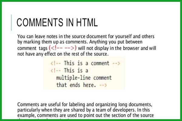 کامنت گذاری در html | تگ کامنت در HTML عنصر کامنت - سایت آموزی