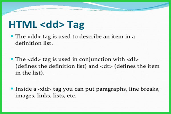 معرفی و کاربرد تگ dd در HTML