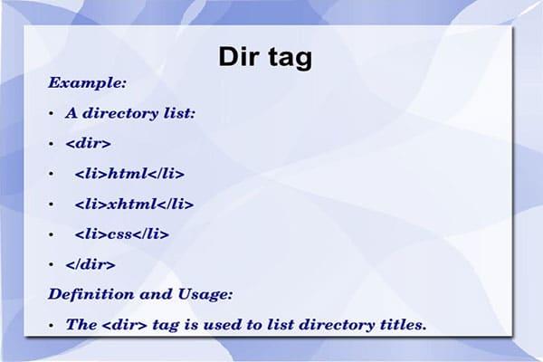 تگ dl و تگ dir در HTML تعریف لیست توصیفی | لیست راهنما