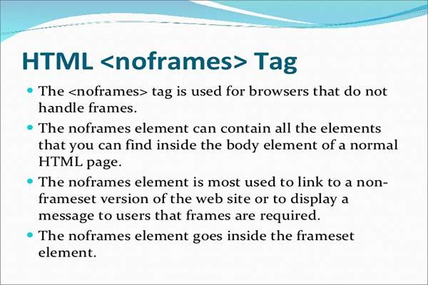 معرفی و کاربرد تگ noframes در HTML
