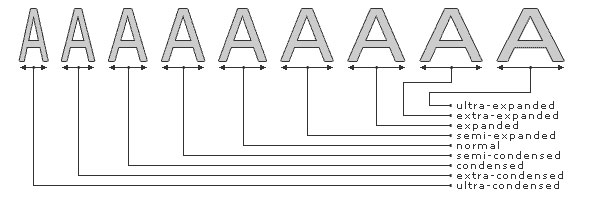 ویژگی font-stretch در css اشکال فونت طبق عرض کاراکتر